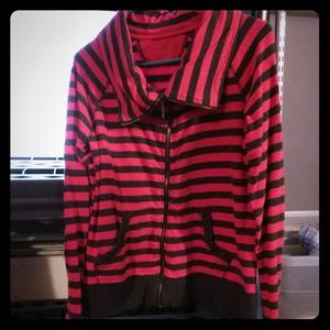 Striped cowl sweater